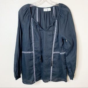 St. Tropez West Black  Linen Peasant Top M